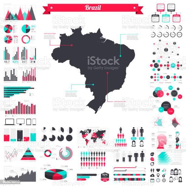 Vetores de Mapa Do Brasil Com Elementos Infográfico Grande Conjunto Gráfico Criativo e mais imagens de Abstrato