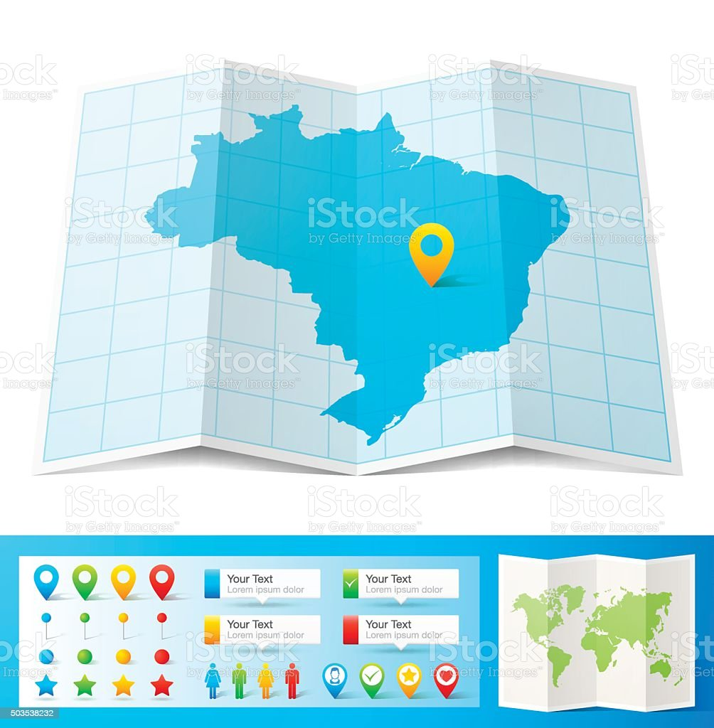 Brazil Map with location pins isolated on white Background vector art illustration