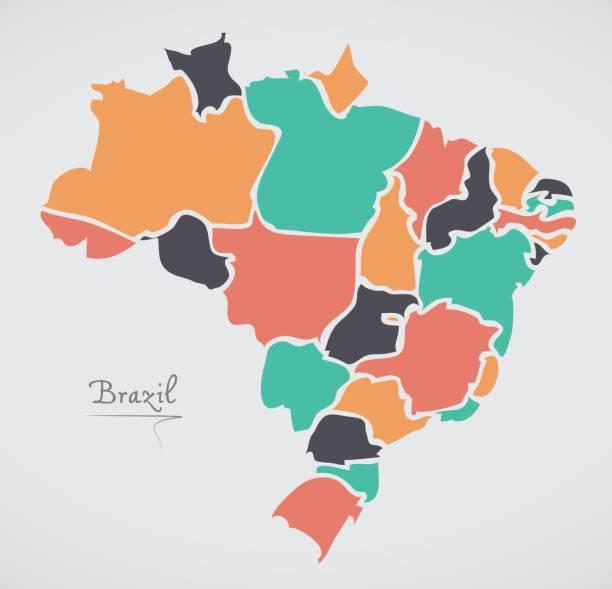 ilustrações, clipart, desenhos animados e ícones de mapa do brasil com modernas formas redondas - brazil map