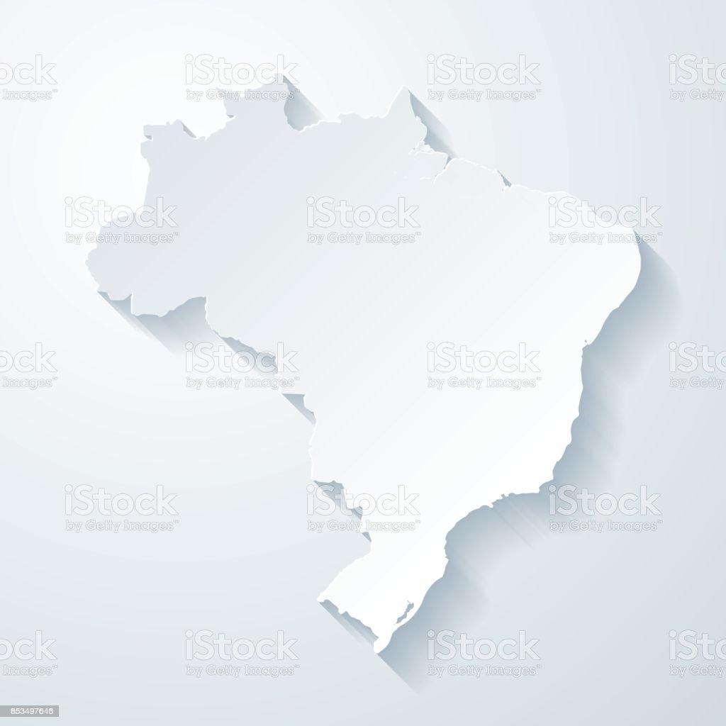 Mapa do Brasil com papel corta efeito no fundo em branco - Vetor de Abstrato royalty-free