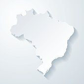 Brazil map with paper cut effect on blank background