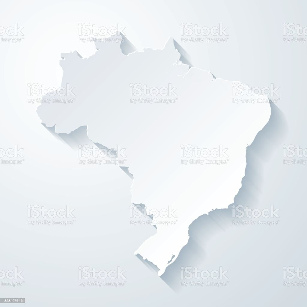 Brazil map with paper cut effect on blank background vector art illustration