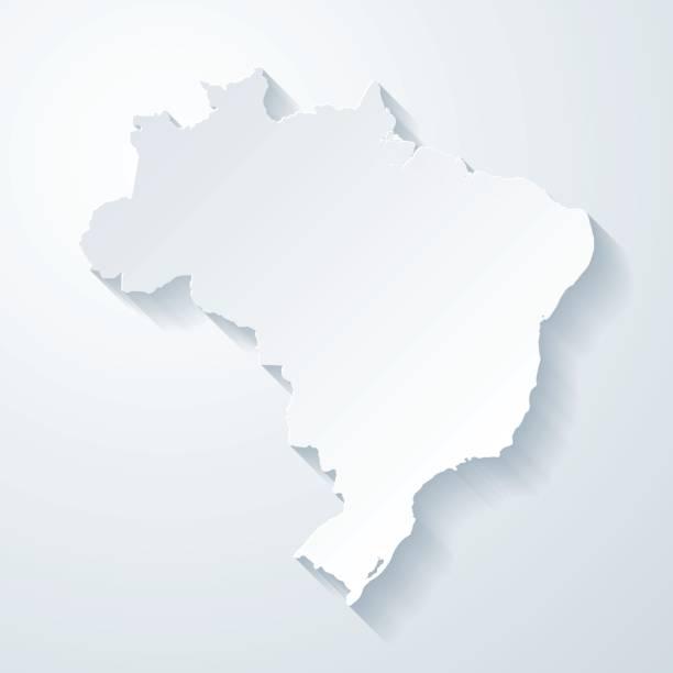 ilustrações, clipart, desenhos animados e ícones de mapa do brasil com papel corta efeito no fundo em branco - brazil