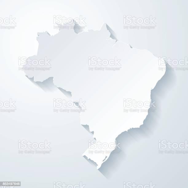 Vetores de Mapa Do Brasil Com Papel Corta Efeito No Fundo Em Branco e mais imagens de Abstrato