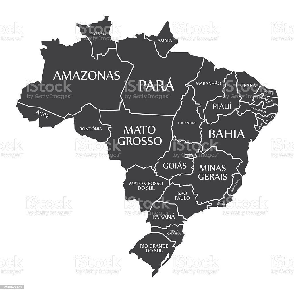 Brazil Map with states and labelled black vector art illustration