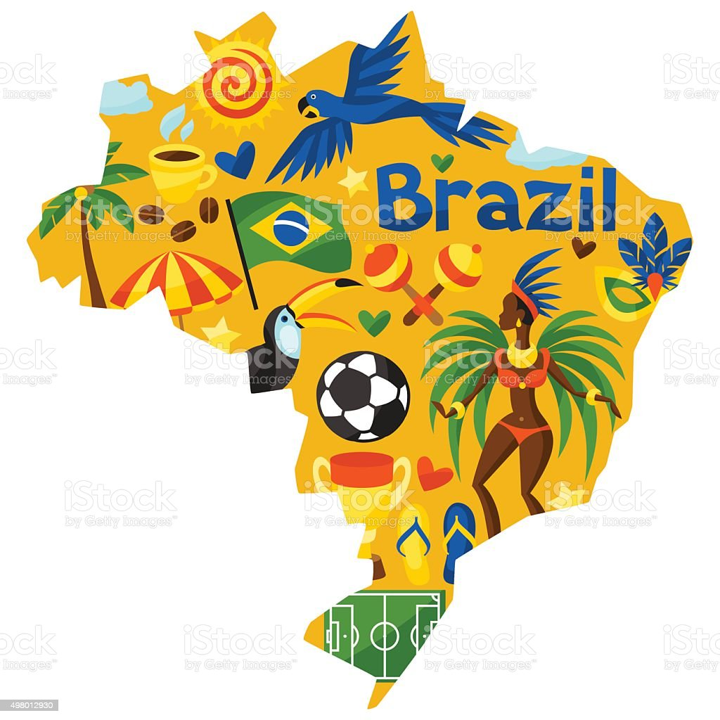 Brazil map with stylized objects and cultural symbols vector art illustration