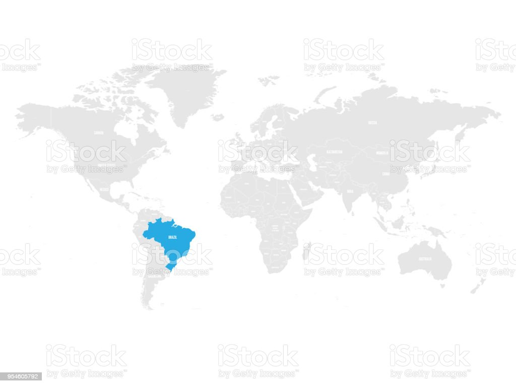 Brazil marked by blue in grey world political map vector brazil marked by blue in grey world political map vector illustration royalty free brazil gumiabroncs Image collections