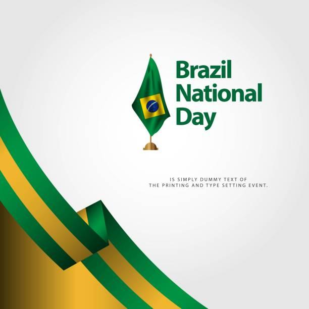 bildbanksillustrationer, clip art samt tecknat material och ikoner med brasiliens nationaldag flagga vektor mall design illustration - brasilien flagga
