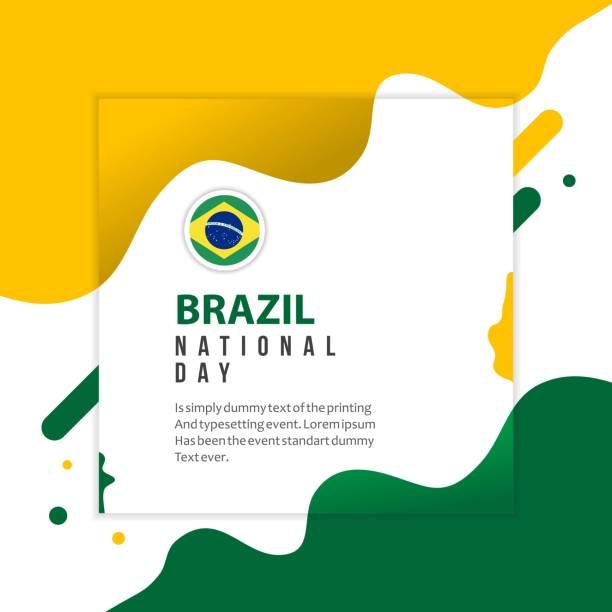 ilustrações, clipart, desenhos animados e ícones de dia nacional do brasil vetor modelo design ilustração - brazil