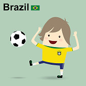 brazil national football team, businessman happy is playing soccer