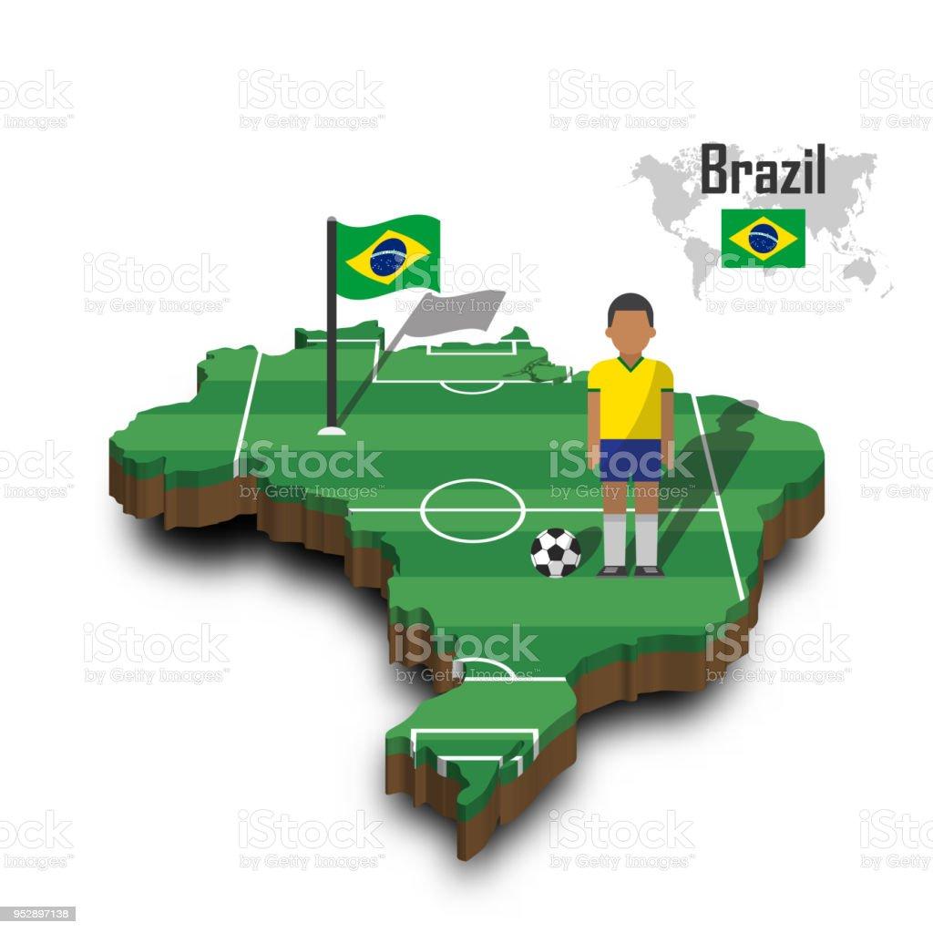 Brazil national soccer team . Football player and flag on 3d design country map vector art illustration