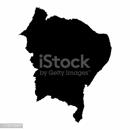 Brazil Northeast dark silhouette map isolated on white background