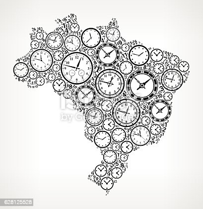 istock Brazil on Time and Clock Vector Icon Pattern 628125528