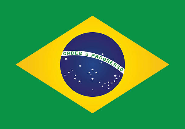 brazil or brazilian flag vector art illustration
