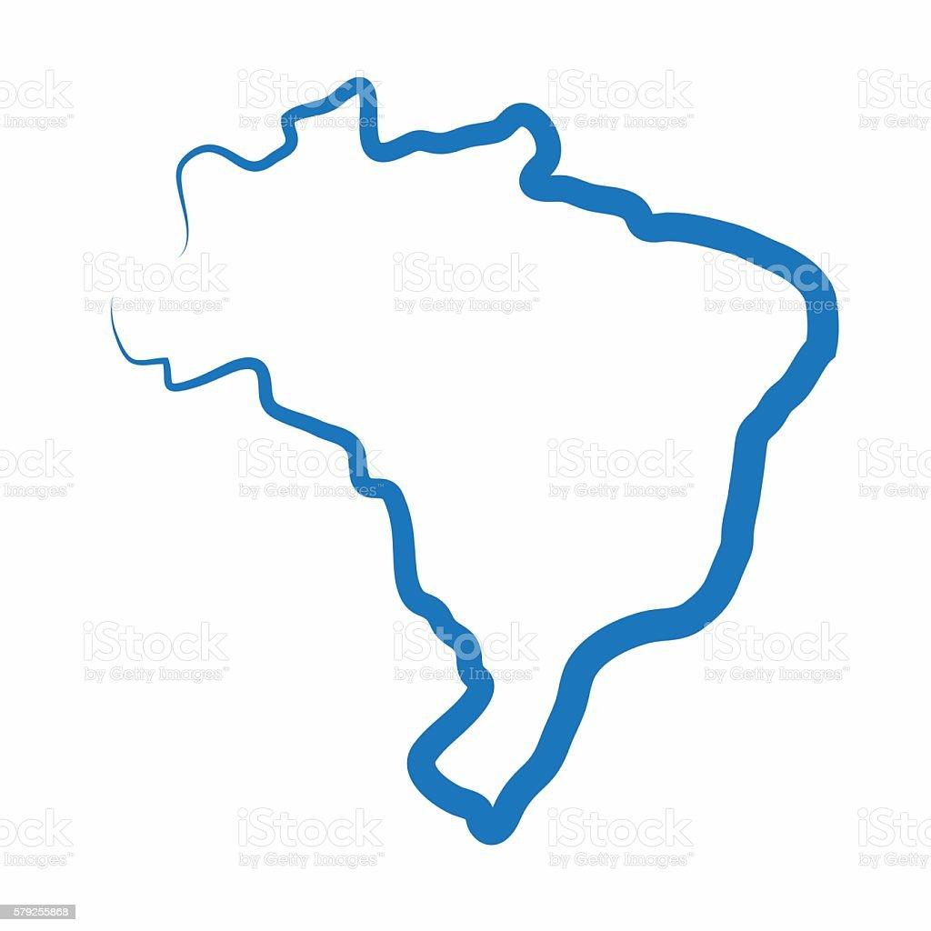 Brazil outline map made from a single line vector art illustration
