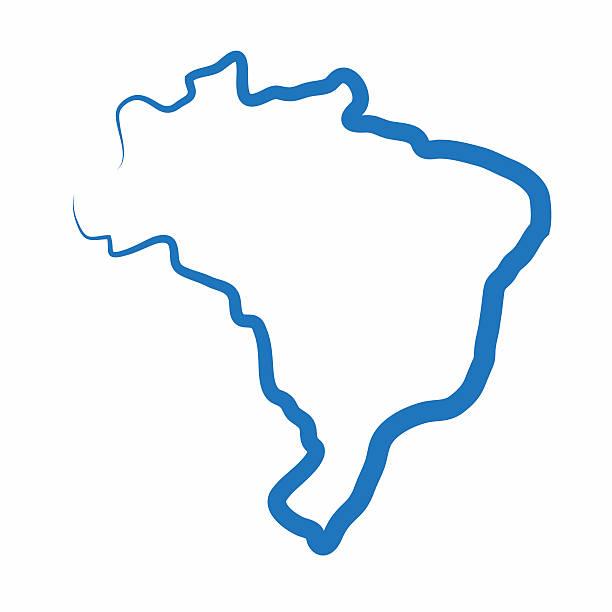 Brazil outline map made from a single line - ilustração de arte em vetor