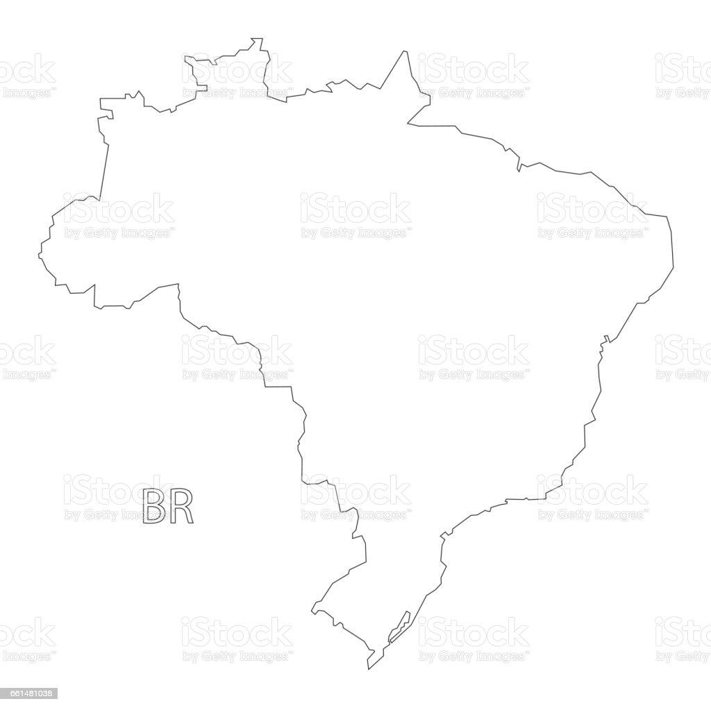 Brazil outline silhouette map illustration vector art illustration