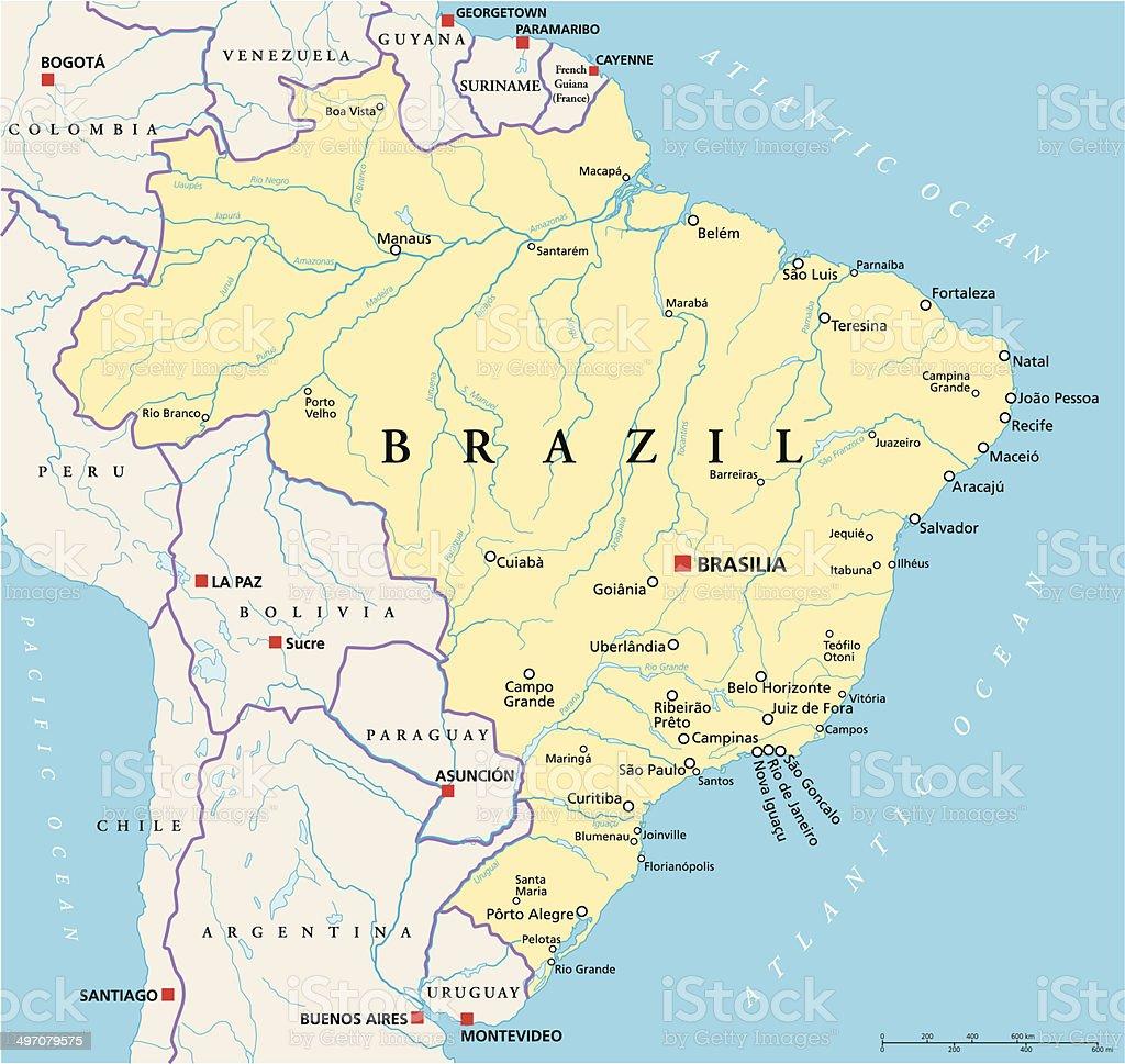 Brazil Political Map vector art illustration