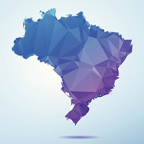 Brazil Polygon Triangle Map Blue Abstract Polygon Triangle vector map of Brazil. File was created in DMesh Pro and Adobe Illustrator on May 15, 2014. The colors in the .eps-file are in RGB. Transparencies used. Included files are EPS (v10) and Hi-Res JPG (5035 x 5035 px). map crystal stock illustrations