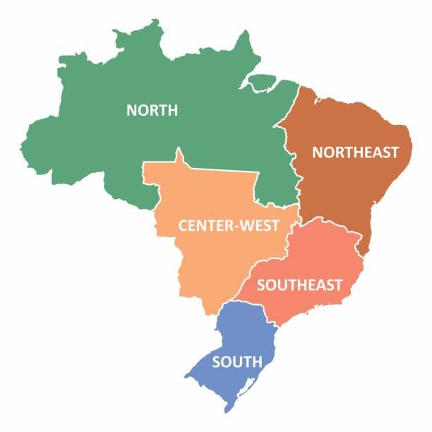 ilustrações, clipart, desenhos animados e ícones de mapa de regiões do brasil - brazil