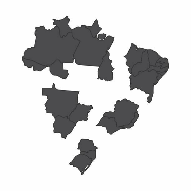 stockillustraties, clipart, cartoons en iconen met brazilië regio's kaarten - zuid
