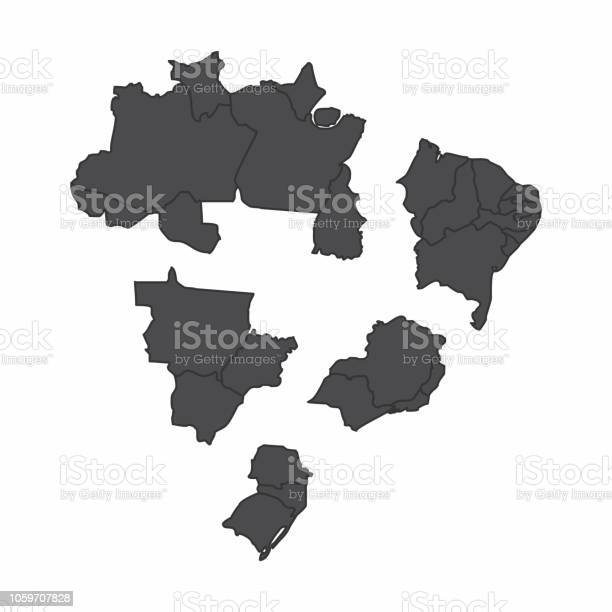 The map of Brazil fragmented into regions