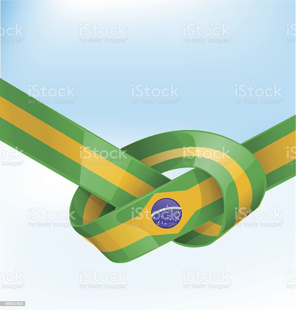 brazil ribbon  flag on background vector art illustration