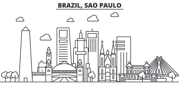 Brazil, Sao Paulo architecture line skyline illustration. Linear vector cityscape with famous landmarks, city sights, design icons. Landscape wtih editable strokes