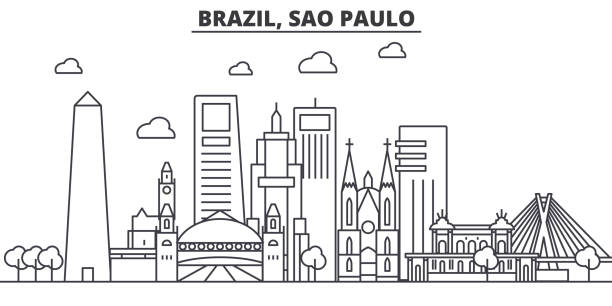 Brazil, Sao Paulo architecture line skyline illustration. Linear vector cityscape with famous landmarks, city sights, design icons. Landscape wtih editable strokes Brazil, Sao Paulo architecture line skyline illustration. Linear vector cityscape with famous landmarks, city sights, design icons. Editable strokes friar stock illustrations