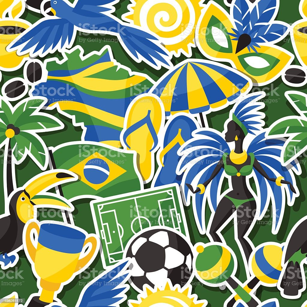 Brazil seamless pattern with sticker objects and cultural symbols vector art illustration