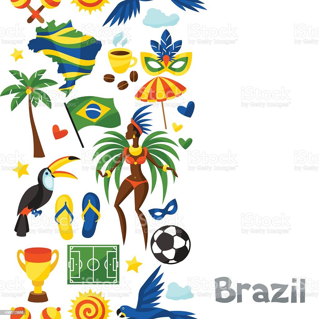 Brazil seamless pattern with stylized objects and cultural symbols vector art illustration