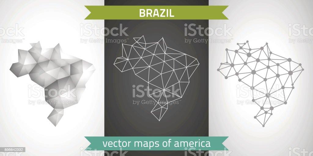 Conjunto de Brasil de cinza e prata mosaico mapas 3d poligonais. Mapas de perspectiva de sombra do esboço gráfico vetorial triângulo geometria - ilustração de arte em vetor