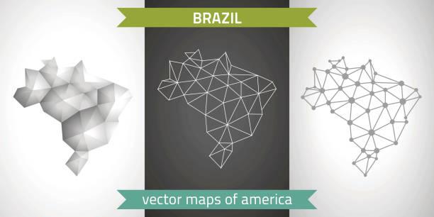 ilustrações, clipart, desenhos animados e ícones de conjunto de brasil de cinza e prata mosaico mapas 3d poligonais. mapas de perspectiva de sombra do esboço gráfico vetorial triângulo geometria - brazil map
