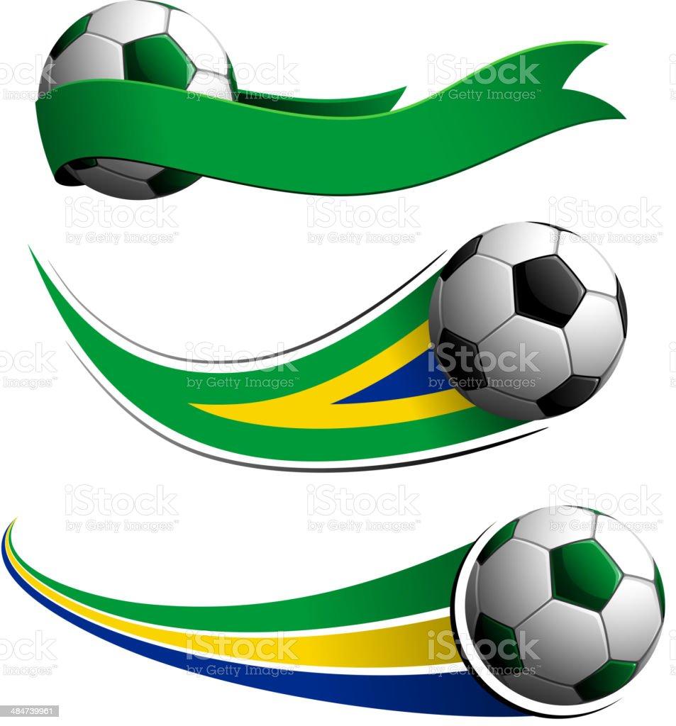 Brazil Soccer Balls vector art illustration
