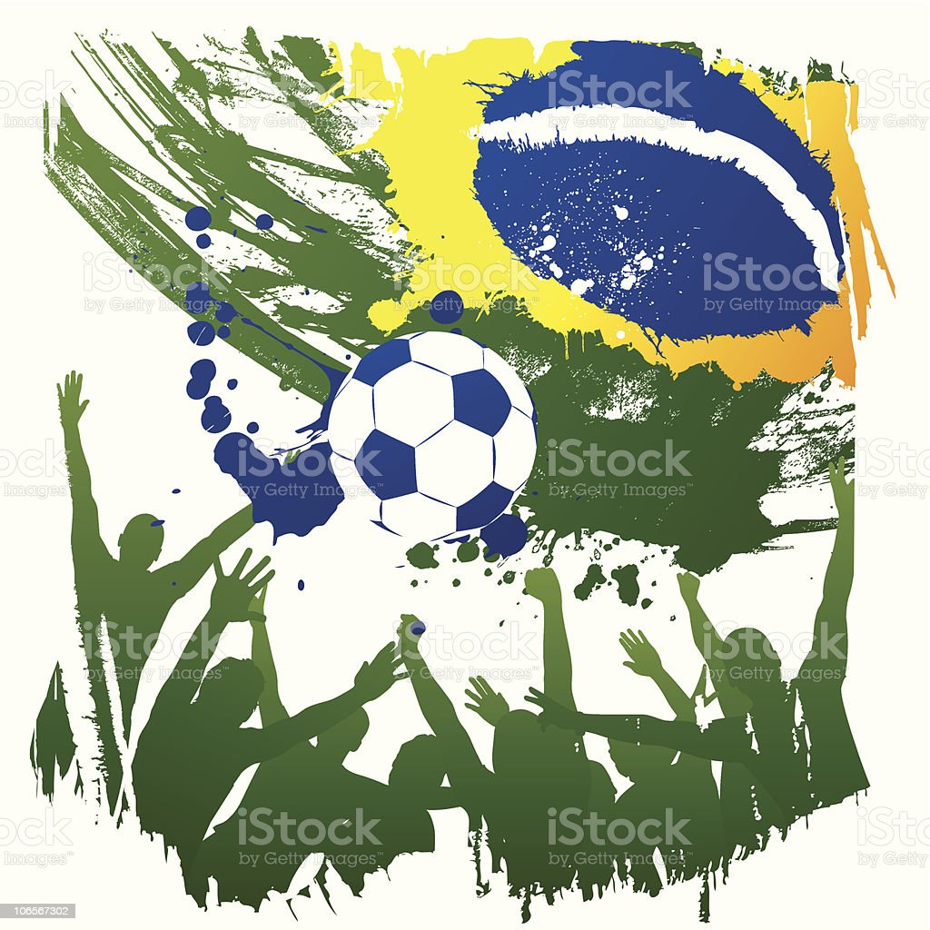 brazil soccer fans vector art illustration