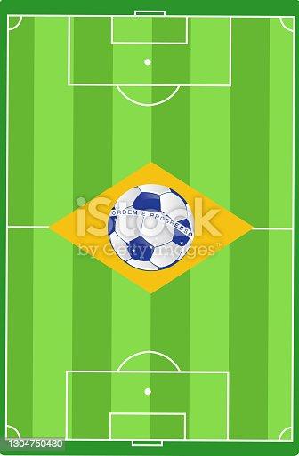 istock Brazil soccer field flag illustration design 1304750430