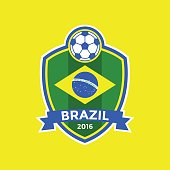 Brazil soccer flag colour badge.