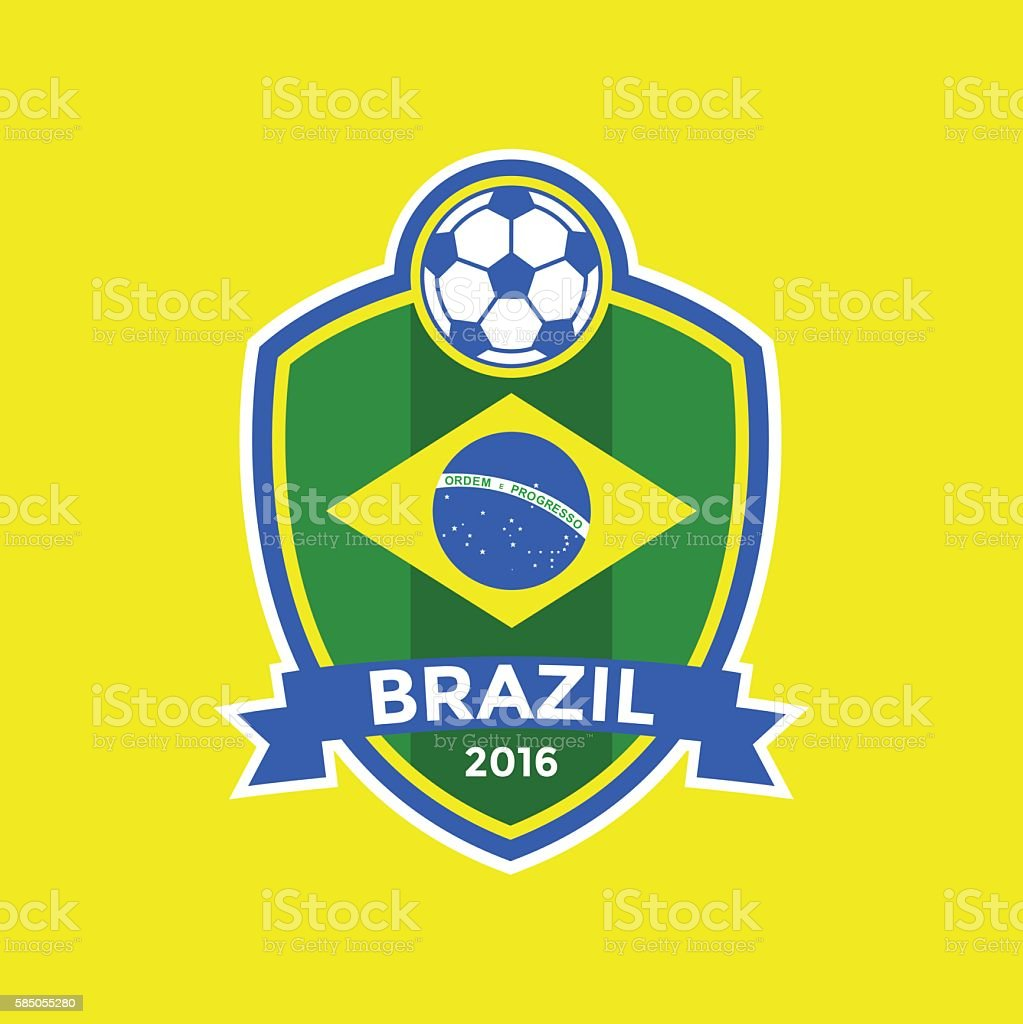 Brazil soccer flag colour badge. vector art illustration
