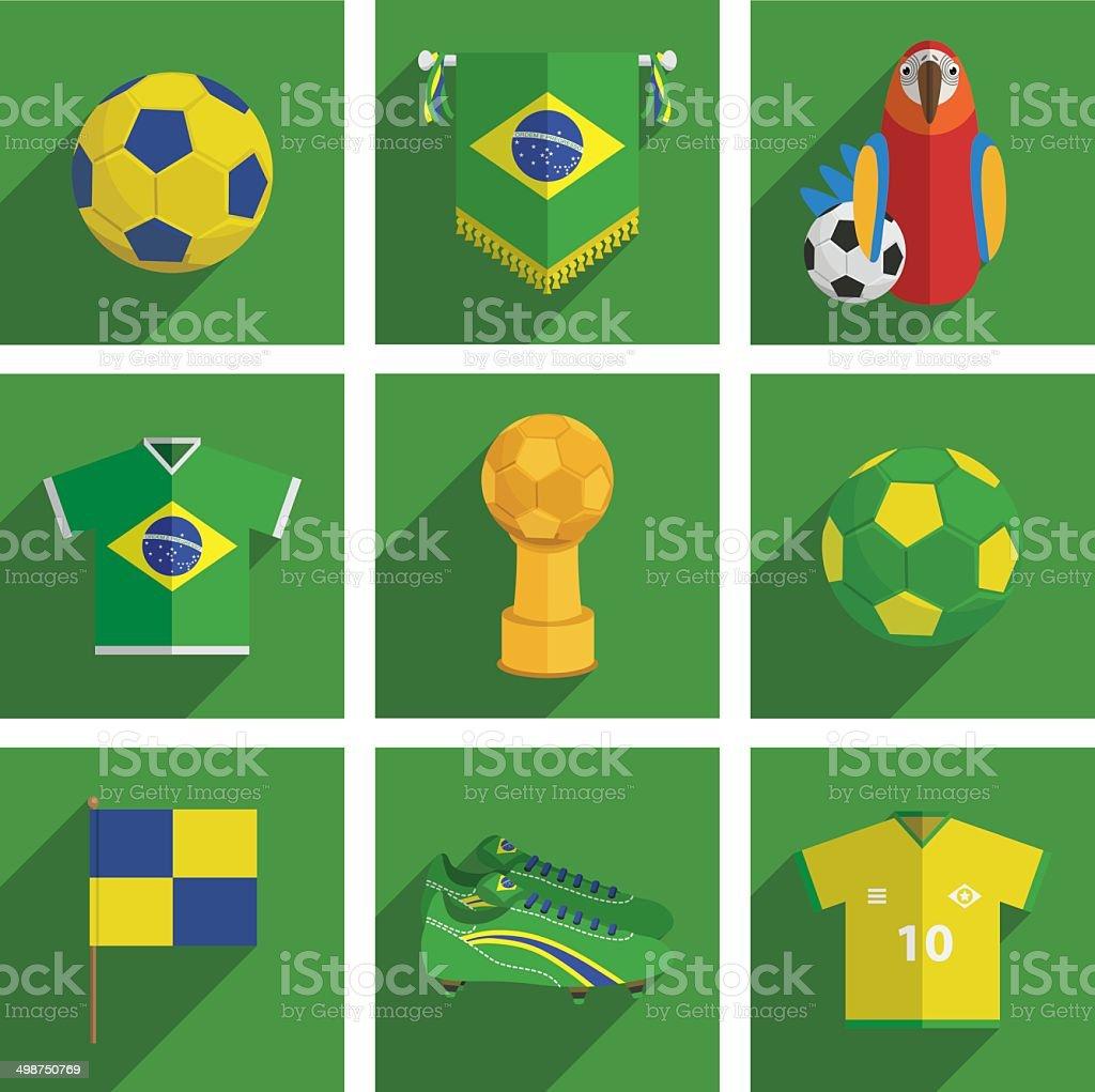 Iconos de fútbol de brasil - ilustración de arte vectorial