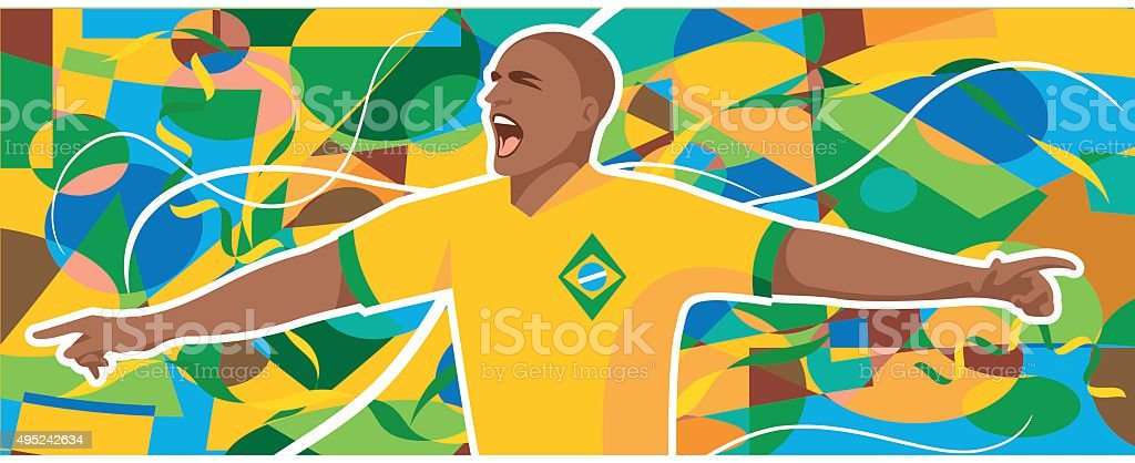 Brazil soccer player vector art illustration