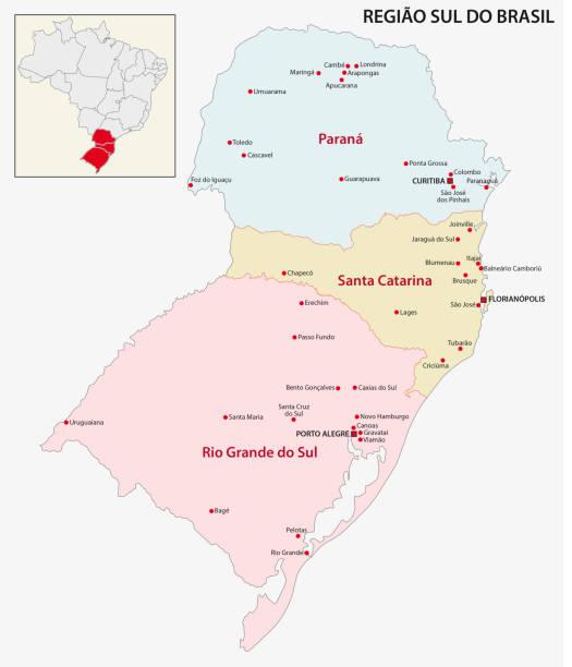 stockillustraties, clipart, cartoons en iconen met brazilië south region kaart - zuid