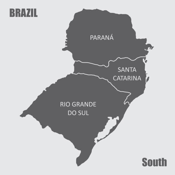 stockillustraties, clipart, cartoons en iconen met regio brazilië-zuid - zuid