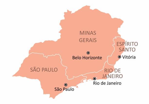 stockillustraties, clipart, cartoons en iconen met brazilië zuidoost-regio kaart - zuidoost