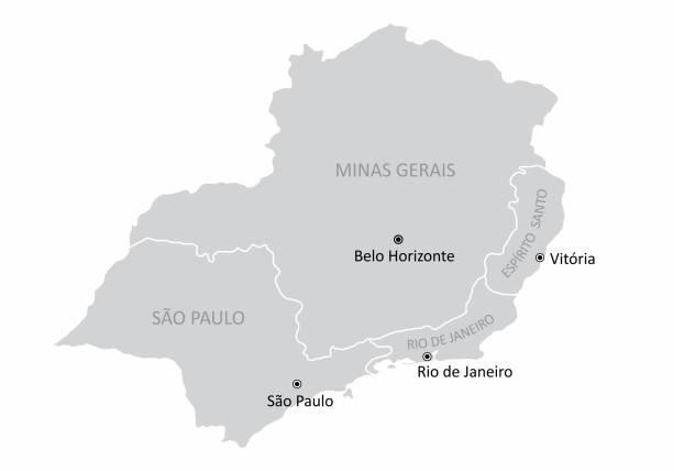stockillustraties, clipart, cartoons en iconen met de zuidoostgebiedkaart van brazilië - zuidoost