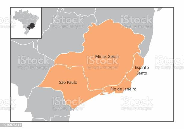 Map of the southeast region of Brazil with the identified states