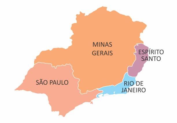 stockillustraties, clipart, cartoons en iconen met regio brazilië-zuidoost - zuidoost