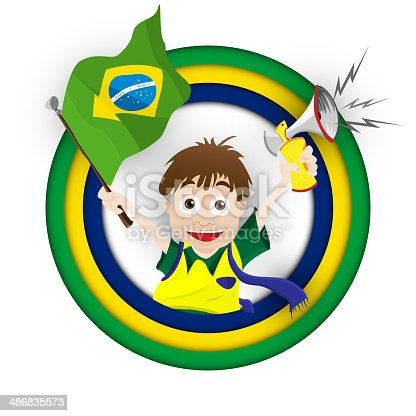 istock Brazil Sport Fan with Flag and Horn 486835873