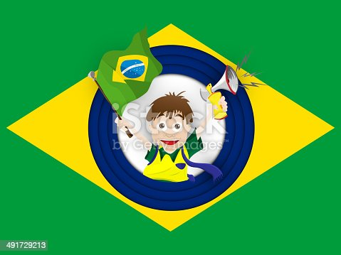 istock Brazil Sport Fan with Flag and Horn 491729213