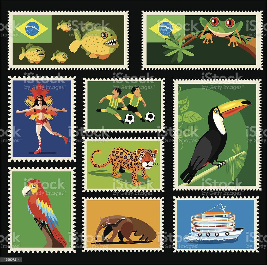 Brazil stamps royalty-free stock vector art