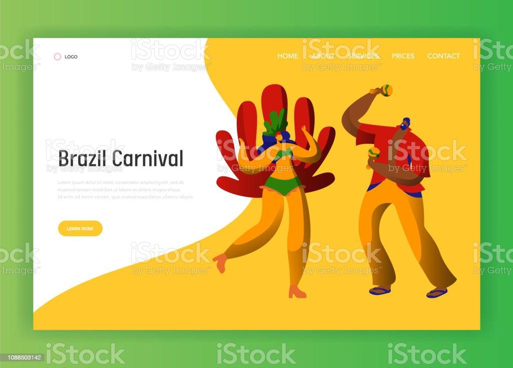 1c41e7ec2287 Ilustración de Brasil Carnaval Verano Pareja Latina Carácter ...